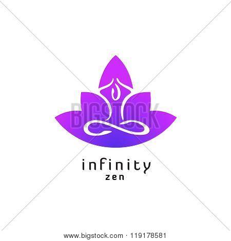 Yoga Zen Pose Logo With Lotus Flower Silhouette. Infinity Sign Legs.