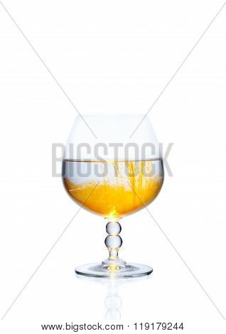 A glass with alcohol