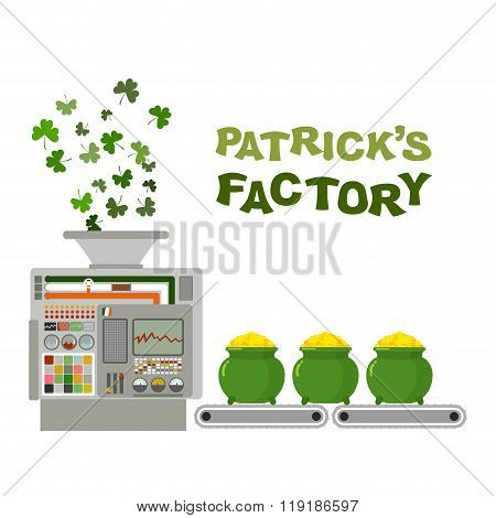 Patrick Factory. Leprechaun Machine. Recycling Green Clover In Gold Coins. Automatic Sorting Line Tr