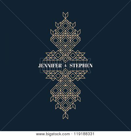 Line Art Design for Invitations, Posters, Badges. Linear Element. Geometric Style. Ornate Element for Design. Wedding Invitation. Elegant Luxury Design Template. Lineart Vector Illustration.