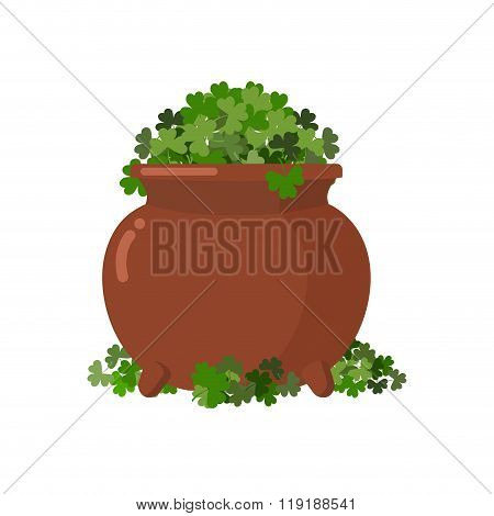Pot And Clover. Boiler Full Green Clover. Hoax, Fake Treasure Leprechaun. Bunch Of Shamrock. Illustr