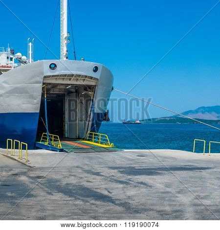Docked Ferryboat Waiting For Passengers