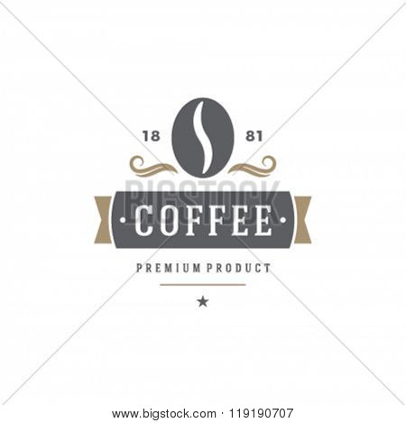 Coffee Shop Logo Template. Bean Silhouette Isolated On White Background. Vector object for Labels, Badges, Logos Design. Coffee Logo, Bean Logo, Coffee Bean Symbol, Retro Logo, Bean Icon