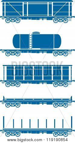 Set of Railway freight cars - Vector illustration