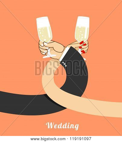 Wedding. Bride And Groom Drink Champagne On  Brotherhood. Hand Of  Man And Woman With Glass Of Wine.