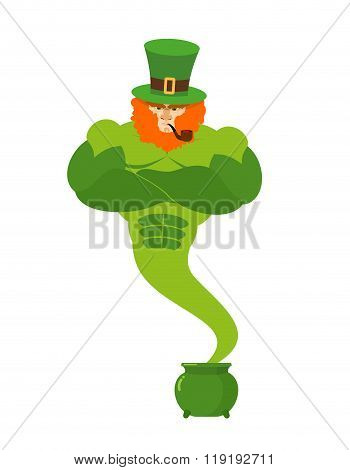 Genie Leprechaun. Magical Spirit Of St. Patrick's Day Green Pot With Gold. Powerful Old Man Wit Red