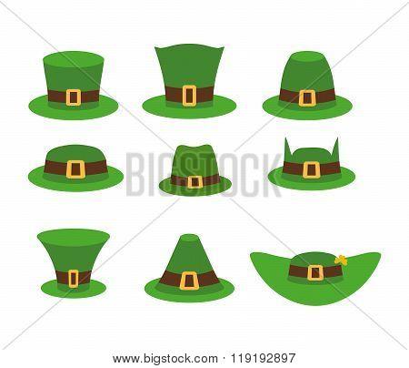 Green Hat Leprechaun. Leprechaun Hat, Green Hat Isolated On White. Leprechaun Hat. Set Of Headgear F