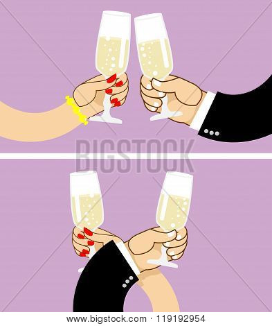 Brotherhood To Drink Wine. First Vidanie. Man And Woman Drinking Champagne From Glasses. Clinking Of