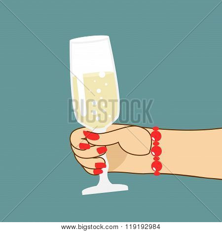 Womans Hand With  Glass Of Champagne. Woman Holds Wine. Red Fingernails And Bracelet.