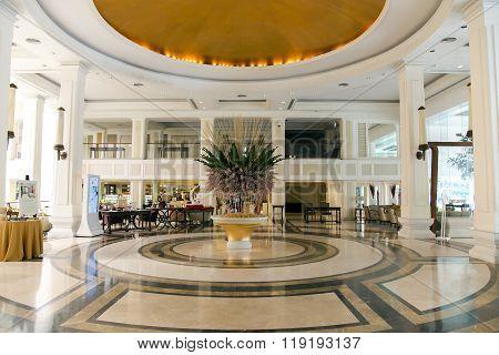 THAILAND, PATTAYA, MARCH, 26, 2015 -  Modern luxury lobby interior in hotel Dusit Thani, lounge zone in Pattaya, Thailand