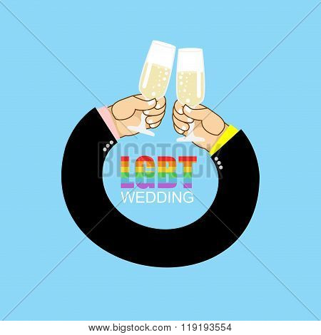 Lgbt Wedding. Gay Wedding. Mens Hands To Drink Champagne Wedding. Clinking Of Glasses. Festival For