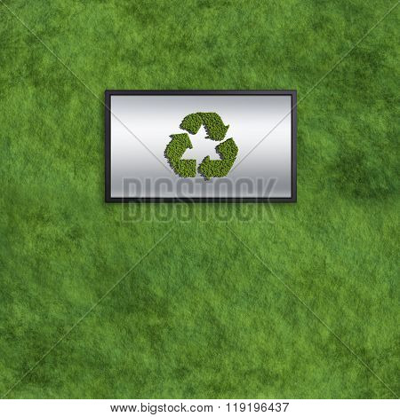 Recycle computer Monitors Concept With Grass Texture