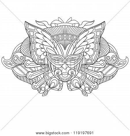 Zentangle Stylized Carnaval Mask.