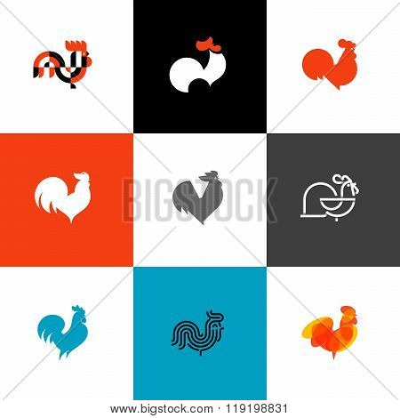 Rooster And Cock. Flat Style Vector Illustrations Set Of Icons And Design elements