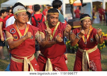 AYUTTHAYA,THAILAND - MARCH 17,2013 : Three senior masters Muay Thai in a combat pose during the Wai Kroo.
