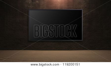 Led Television On Dark Rock Wall Background