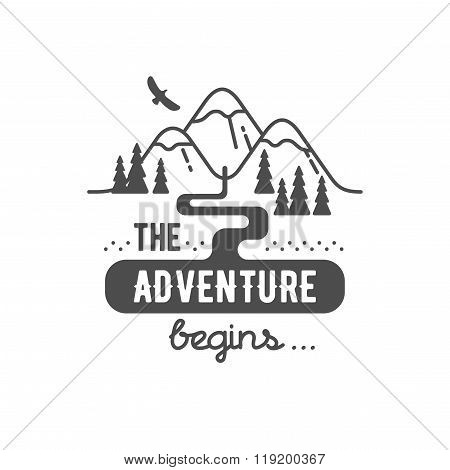 The Adventure Begin Element for Greeting Cards Posters and T-shirts Printing
