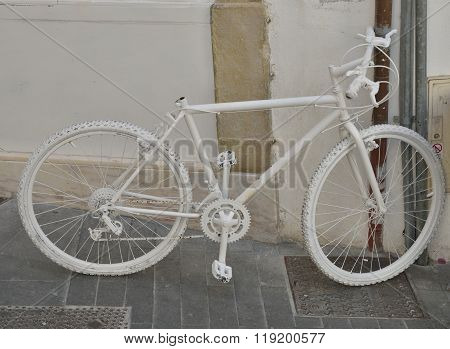 White Bike On Wall
