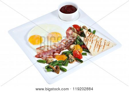 Cooked English Breakfast, Fried Eggs With Bacon On Square Platter.
