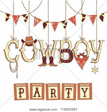 Cowboy Western Party Text .vector Symbols Isolated On White For Design