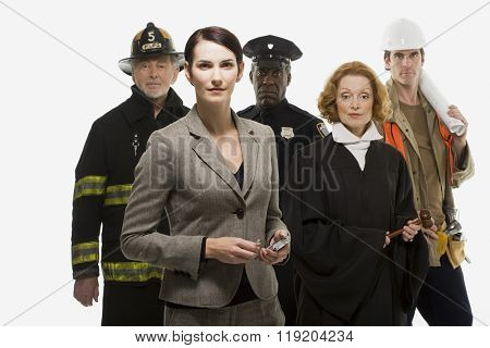 Firefighter police officer judge construction worker and businesswoman