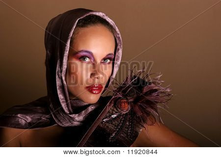 Beautiful African American woman in scarf