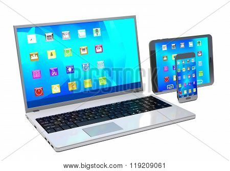 Laptop, Tablet Pc And Mobile Phone On White Background.