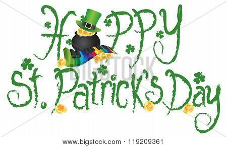 Happy St Patricks Day Pot Of Gold Grunge Text