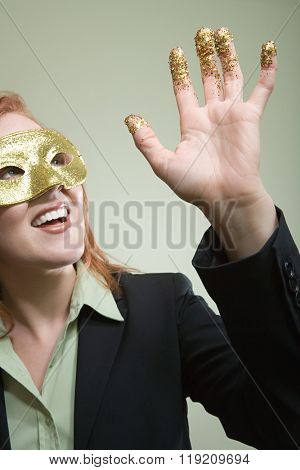 Woman with glitter on her hand