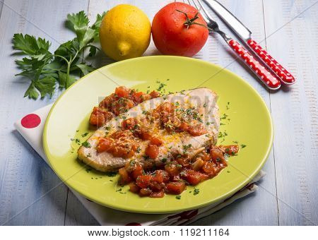 swordfish with fresh tomatoes and grated lemon peel poster