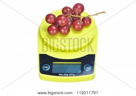 Bunch Red Seedless Crimson Grape On Electronic Kitchen Scale