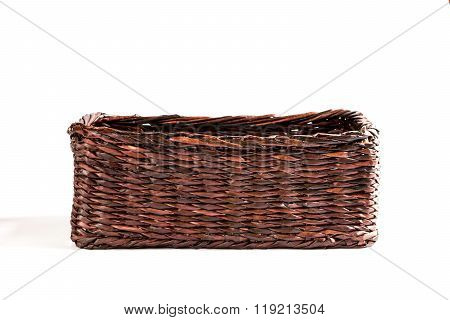 Wicker Basket On A White Background