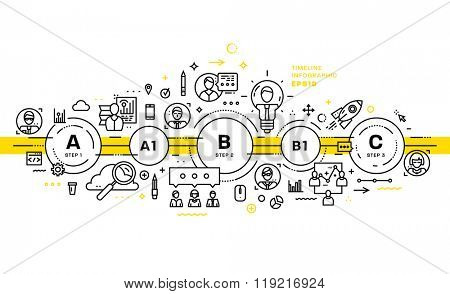 Business Technology Elements Set. Template with Steps and Options. Infographic Elements. Design Layout for Business Cards, Websites, Presentations, Flyers and Posters. Flat Style. Thin Line Icons.