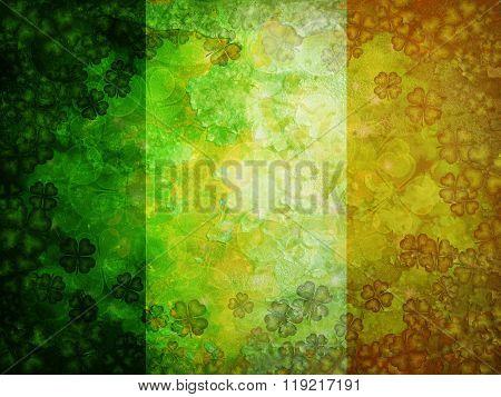 Shamrock Four Leaf Clover Grunge Flag Background