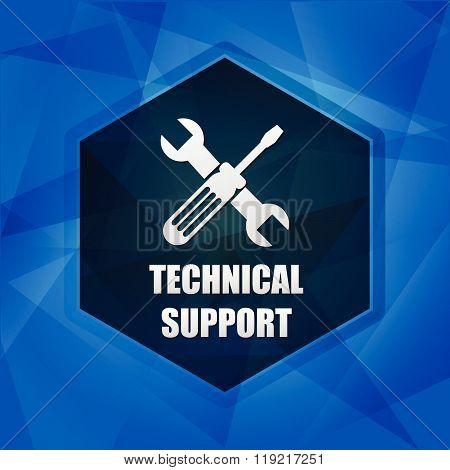 technical support with tools sign over blue background with flat design hexagons, web icon with symbol, business service concept, vector poster