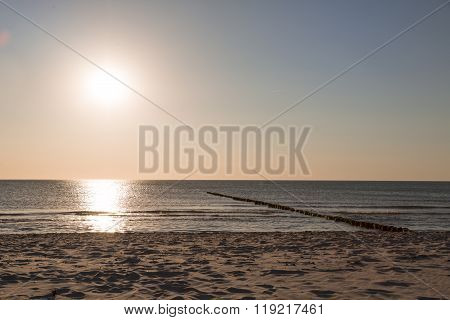 Sunset At The Sea And Beach