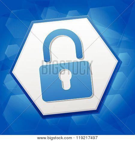 padlock sign in hexagon over blue background, flat design, vector