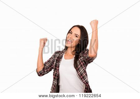 Happy Young Woman Achived Her Goal And Showing Fists