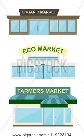 Storefront icon set, vector illustration. Organic market, eco market and farmers market storefront. Eco market building. Farmers market building. Isolated shop vector icon. Local shop. Farmers market.