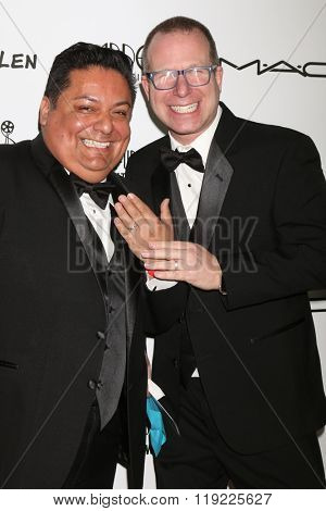 LOS ANGELES - FEB 20:  Geroge Guzman, Craig Astrachan at the Make-Up Artists And Hair Stylists Guild Awards at the Paramount Studios on February 20, 2016 in Los Angeles, CA