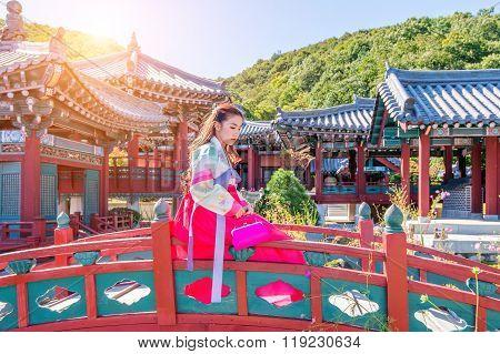Woman With Hanbok In Gyeongbokgung,the Traditional Korean Dress.