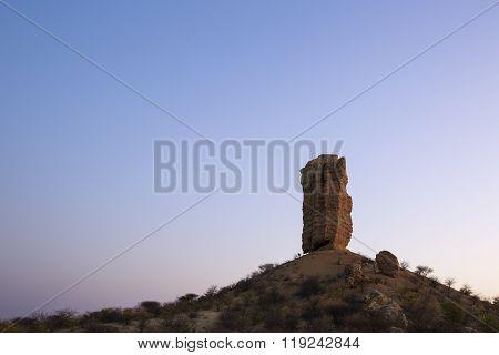 Vingerklipp rock finger at sunset, Damaraland, Namibia.