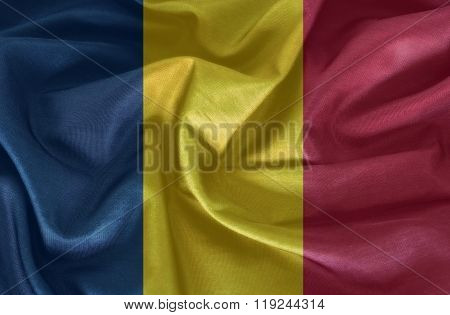 Chad flag patterns on the fabric texture