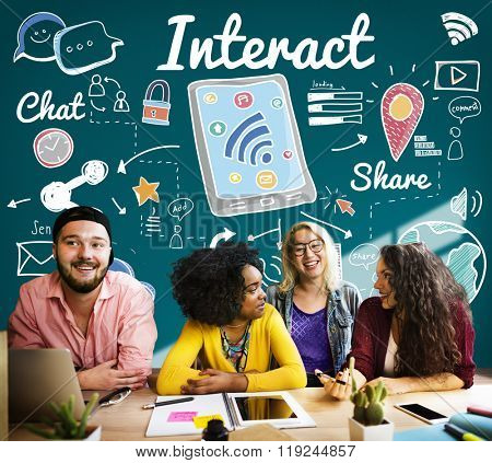 Interact Interaction Interactive Interacting Group Concept poster