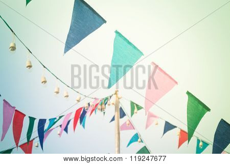 Party Flags On The Sky With Vintage Filter