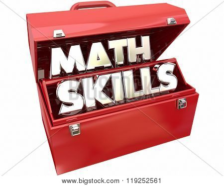 Math Skills Learn Education Study Tutoring Red Metal Toolbox 3d Words