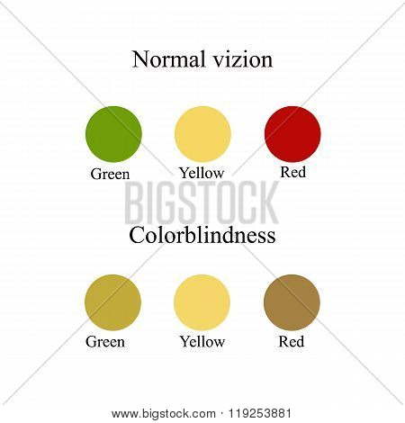 Color blindness. Eye color perception. Vector illustration on isolated background