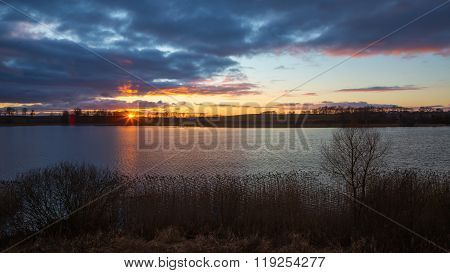 Beautiful Sunset Over Calm Lake