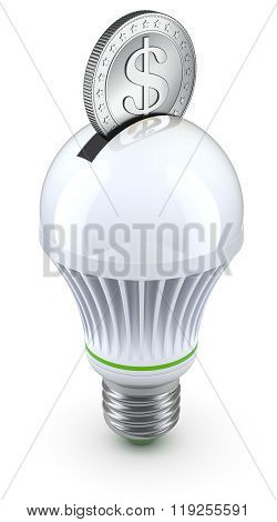 Concept for energy saving with led bulb and coin