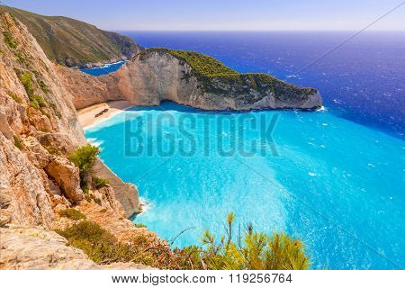 Beautiful Navagio Beach (Shipwreck beach) on Zakynthos Island, Greece